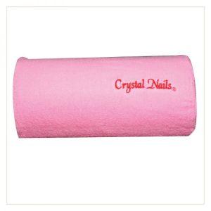 Handauflage (Frottier), pink mit aufgesticktem Logo