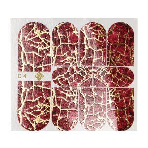 Decoupage Nagelaufkleber D4 - rote Rosen